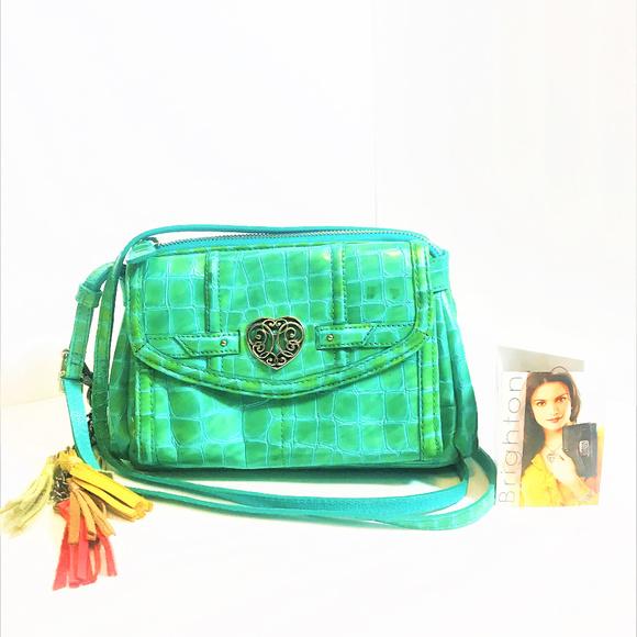 Brighton Handbags - Brighton Croc Embossed Patent Leather CrossBody